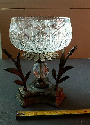 "CRYSTAL VASE WITH BRONZE/BRASS MOUNTING 14"" high"
