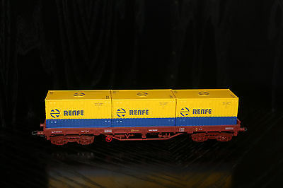 Electrotren RENFE HO gauge container flat wagon with 3 containers MIB