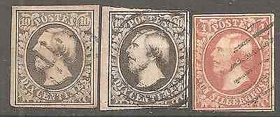 Luxembourg 2 X #1 + 1 #2  Fine Condition Used Stamps Wm Big W Easy Readable
