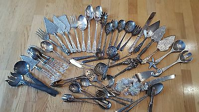 Vintage Silverplate Serving Pieces Mixed Lot 45 pieces Kings Pattern