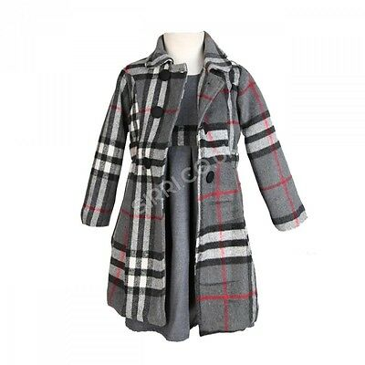 Girls Grey Winter Coat Dress and Hat, Girls Formal Winter Coats and Dresses Set