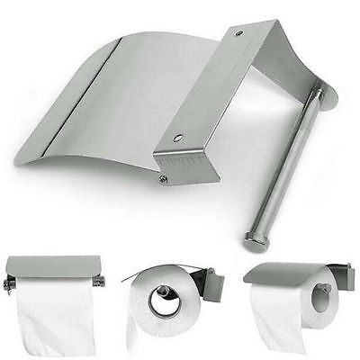 Stainless Steel Bathroom Toilet Paper Holder Roll Tissue Box Wall Mounted NEW B