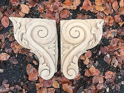 Reclaimed Wooden church corbels. Pair Hand Carved. Decorative Salvage