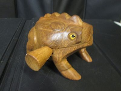 "5"" Hand Carved Wooden Croaking Frog - Makes A Percussion Sound like Croaking"