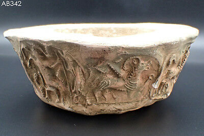 Ancient Indus Valley Roman terracotta's Bowl With Animals & Hunters #342