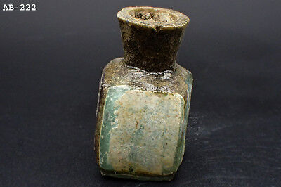 Wonderful Old Roman Glass Bottle 100 AD Repair #222