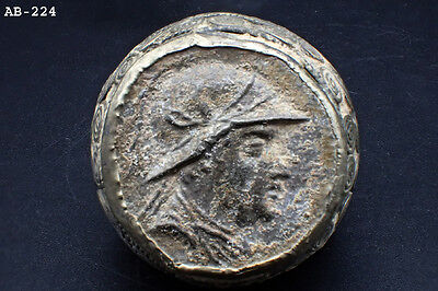 Wonderful Silver Ring w/Very Old Greek God Emperor Ancient Coin #224