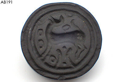 Rare Ancient Huge Bactrian STAG Intaglio Black Stone Stamp#191