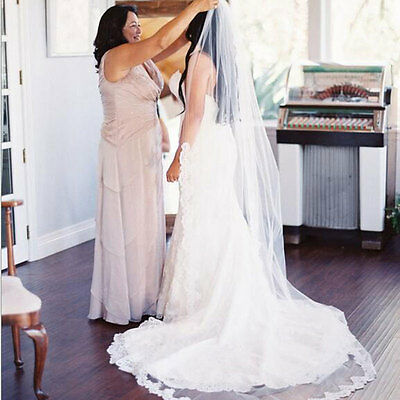 3M White Ivory Cathedral Mantilla Wedding Veils Long Lace Bridal Veil with Comb