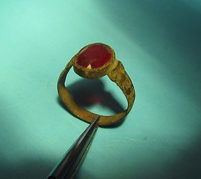 Ancient medieval bronze ring with red glass insert!