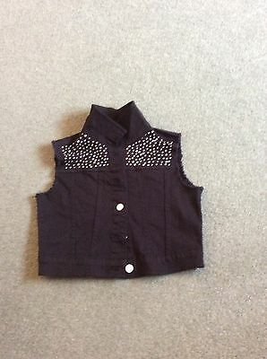 GORGEOUS Girls black Lightweight denim sleeveless crop jacket H&M age 11-12