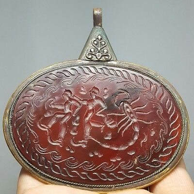 Large Agate Carving intaglio Stone Silver Antique Pendant # G