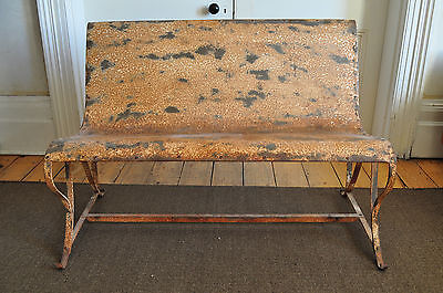 Vintage Garden Unique Metal Bench Architectural Antique