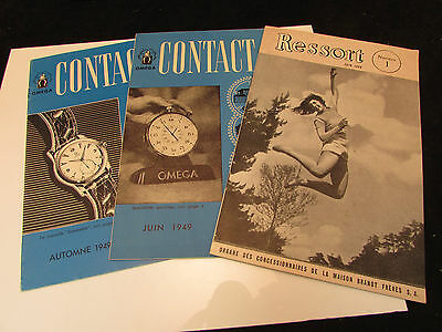 3 Omega Watch Dealer Booklets Contact & Ressort #1, French, 1946-1949