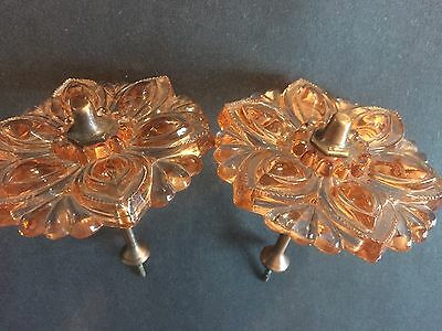 "Two Victorian 3-1/2"" Pink Glass Curtain Tie-Backs with Original Pin"