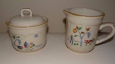 Stoneware International Heartland 7774 Japan Sugar & Creamer Thanksgiving  EUC