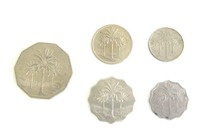 LOT of 5 Assorted Denominations & Years Iraqi Coins