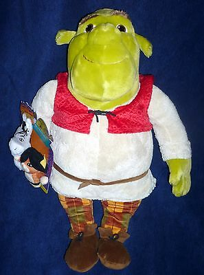 """Macy's 2007 Plush SHREK With Donkey Puss 'N Boots FINGER PUPPETS Dreamworks 19"""""""