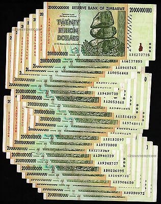 25 x 20 Billion Zimbabwe Dollars Bank Notes AA AB 2008 ¼ Bundle [25PCS] Currency