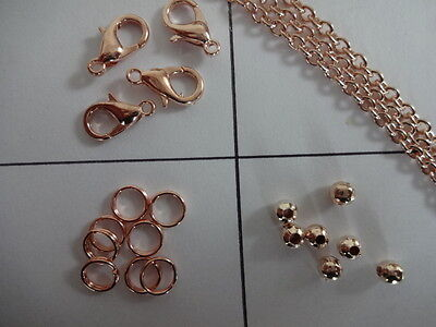 Premium Qlty Nickel FREE Rose Gold Chain, Jumprings, Lobster Clasps Spacer Beads