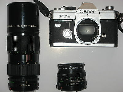 vintage Canon FTb QL  Camera with 2 lenses
