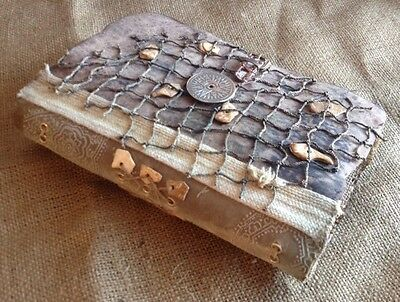 Handmade journals / memory keepers burlap, foax leather OLD WORLD collection 03