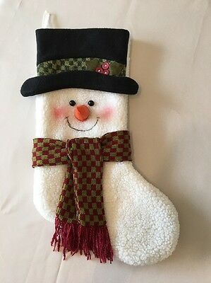 Snowman Wooly Woodsy Christmas Stocking EUC