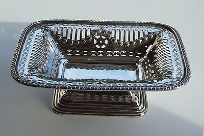 Ornate Antique Reticulated Old Sheffield Plate Silver On Copper  Footed Tray