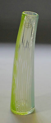 Art Glass Cased, Green candy striped vase, tall