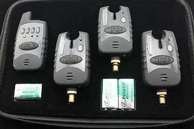 Carp Fishing Wireless Bite Alarms Set - 3 Alarms And Receiver In Case