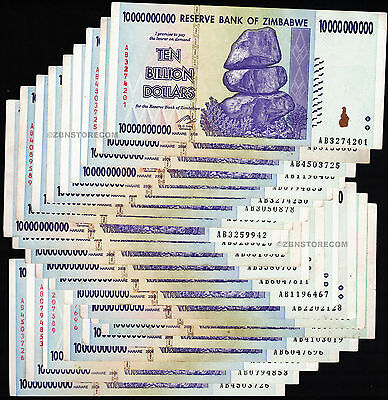 20 x 10 Billion Zimbabwe Dollars BankNotes AB 2008 Currency Bundle Lot ~20 Bills