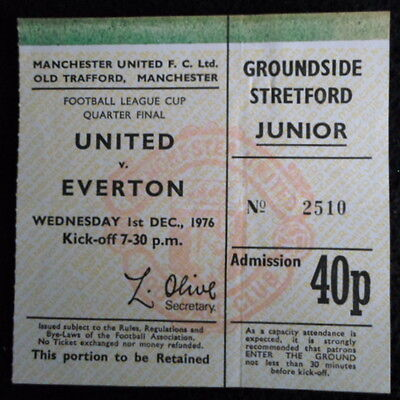 Manchester United v Everton    1/4 final  league cup   1-12-1976   ticket stub