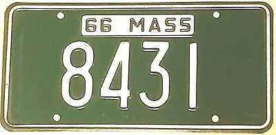 1966 MASSACHUSETTS License Plate Tag  #8431  4 DIGIT LOW NUMBER  Nice!