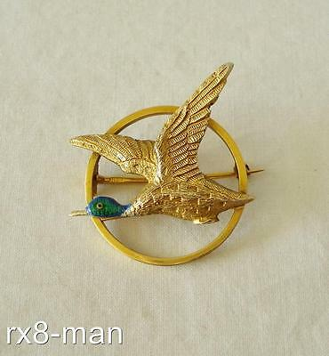 1947 SUPERB VINTAGE 9CT SOLID GOLD & ENAMELLED FLYING DUCK BROOCH - 6.7g