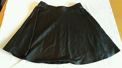 Girls Black Leather Style Elasticated Skirt  Ages 12 - 13
