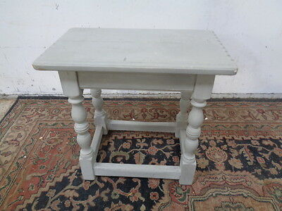 18th-19th ?  century oak stool painted grey