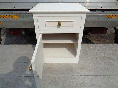 small vintage white bedside cabinet drawer and cupboard