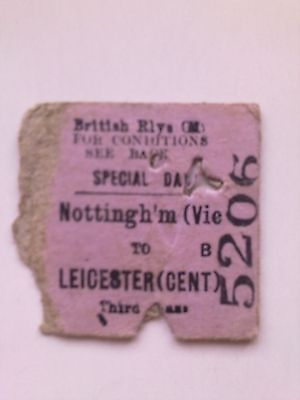 B, R, ,   Half Ticket,   (  Nottingham Vic  To  Leicester Ctl, ) 1951,