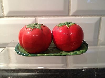 Vintage Hinode Tomato Salt And Pepper Shaker With Tray