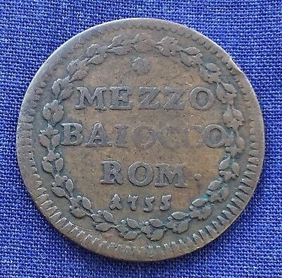Papal States - Benedict XIV Year 15 - 1/2 Baiocco 1755 - Coin.