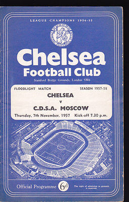 1957/58 CHELSEA V C.D.S.A. MOSCOW 07-11-1957 Floodlight Match