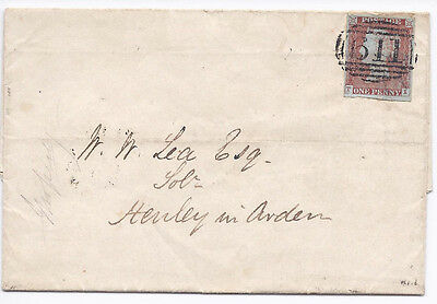 GB QV 1d Red SG8-12 Spec BS28 'TI' Plate 65 on cover