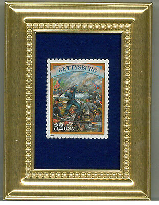 Gettysburg Civil War A Collectible Glass Framed Postage Masterpiece Gift