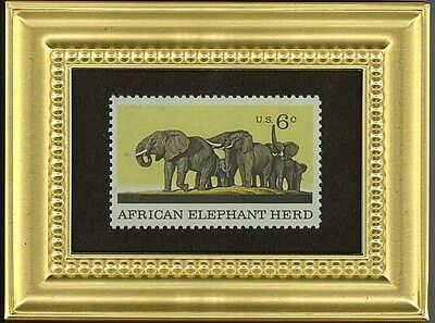 African Elephant Herd - A Glass Framed Collectible Postage Masterpiece!