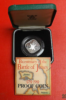 Jersey 1981 Silver Proof One Pound In Green Box+Coa Very Nice Coin