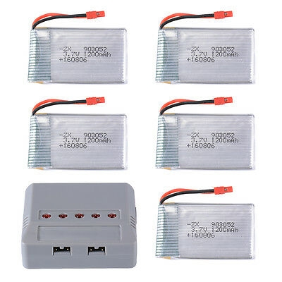 5pcs 3.7V 1200mAh LiPo Battery Charger for Syma X5HC X5HW Aircraft Drone RC474