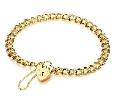 9Ct Gold Solid Heavy Double Curb Link Charm Bracelet Heart Padlock Gift Box