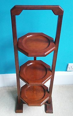 Edwardian Solid Mahogany 3 Tier Cake Stand