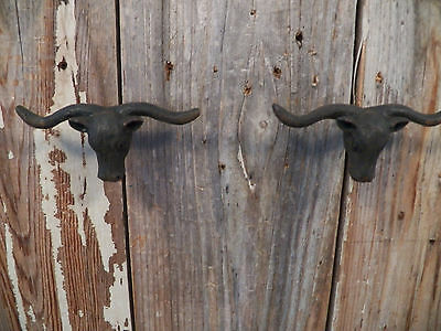 "Lot/Set of 2 Nice Black ""Southwestern Longhorn"" Western PULL Drawer Door KNOBS"