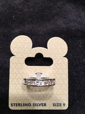 Disney Parks Mickey Mouse Icon Band Crystal   Ring Sterling 925 Silver Sz 9